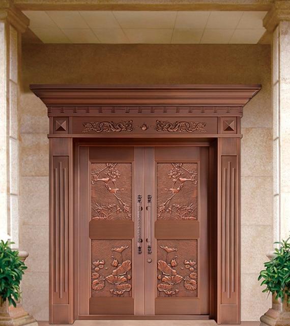 Bronze Door Security Copper Entry Doors Antique Copper Retro Door Double Gate Entry Doors H-c5