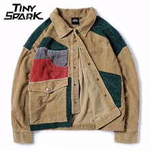 Hip Hop Loose Bomber Jacket Men Corduroy Jacket Color Patchwork Streetwear Short Jacket Women Autumn Spring Coat Reggae Jamaica