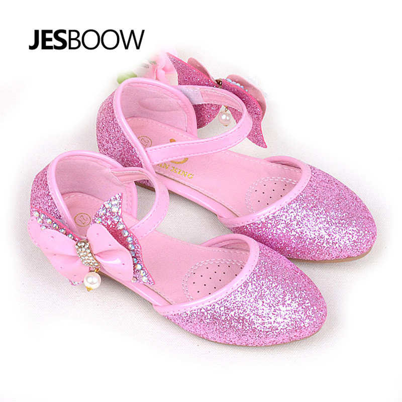 Kid Girl Shoes Princess Bow Pearl Rhinestone Sequin Shoes Wedding Party School Shoes