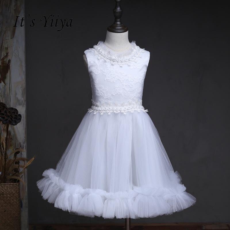 It's yiiya New Beading Zipper   Flower     Girl     Dresses   O-neck Kid Child Ball Gown   Dress   Sleeveless For Party Wedding   Girl     Dress   S154
