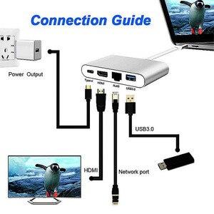 Image 5 - Basix USB C Ethernet USB C To HDMI 4 K + Gigabit Ethernet (RJ45 Cổng) + USB 3.0 Loại C Hợp đầu USB C Bộ Chia cho Macbook