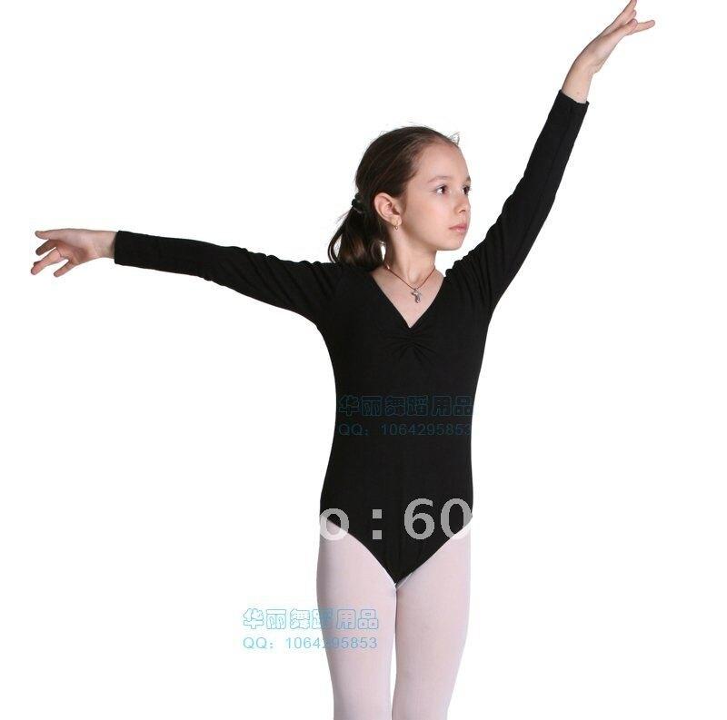 ! New Black Girls Long-sleeve Dacne Gymnastics Leotards Ballet Costume Tutu Dance Skate Dress SZ 3-8Y - dance dress store
