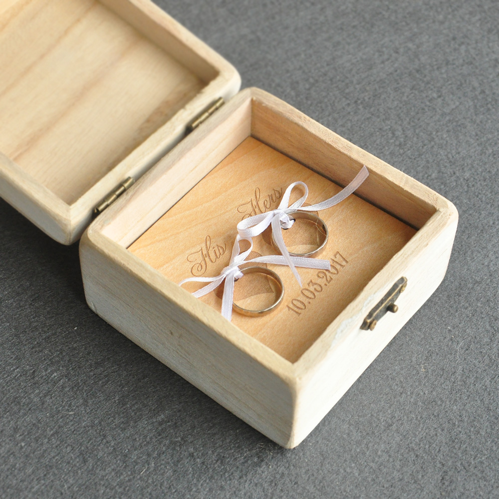 Ring bearer box rustic images for Cute engagement ring boxes
