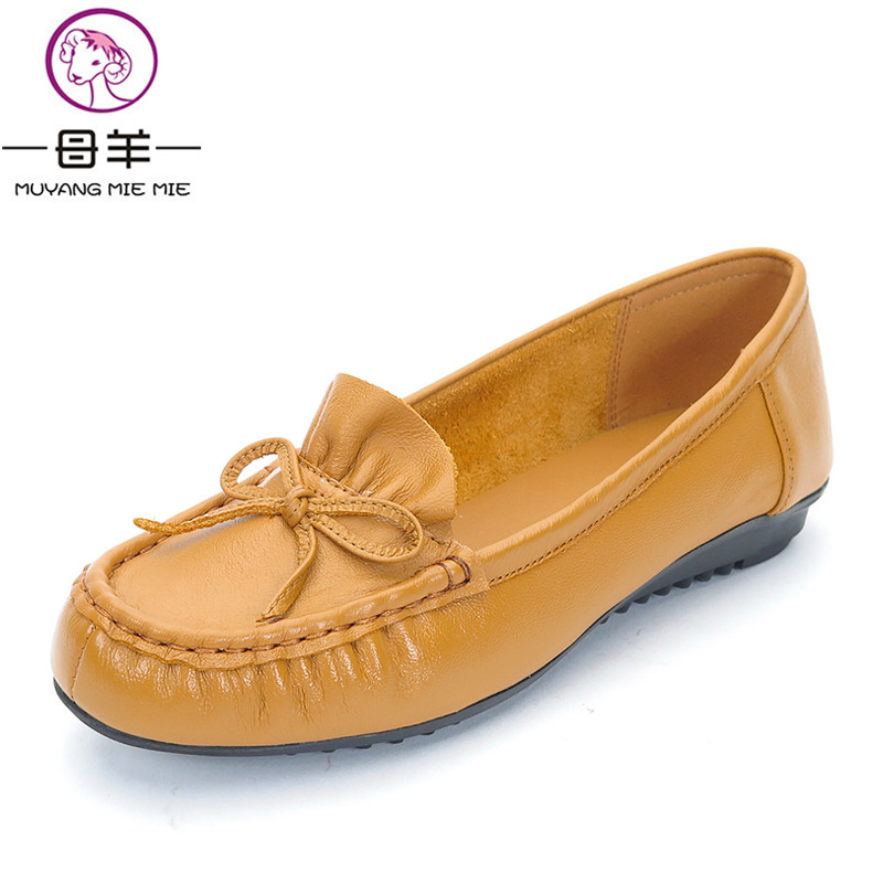 MUYANG MIE MIE Spring And Autumn Women Shoes Genuine Leather Single Flat Shoes Woman Casual Soft Shoes Women Flats muyang mie mie genuine leather women shoes woman casual flower single flat shoes soft comfortable women flats