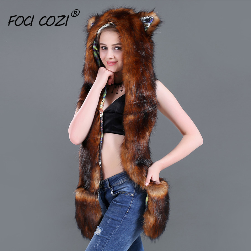 Animal Hat Halloween Costumes Faux Fur Hoody Fashion Hat 3in1 Brown Winter Accessories Hat And Scarf Set For Women Free Shipping