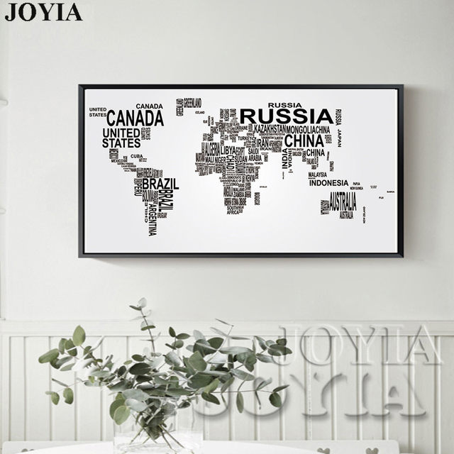 Large World Map Canvas Art English Words Country Names Word Black And White Print Wall Painting Home Office Room Decor