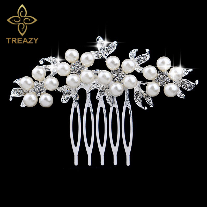 TREAZY Combs Jewelry Hair-Accessories Pearl Crystal Bridal Hair Floral Fashion Charm