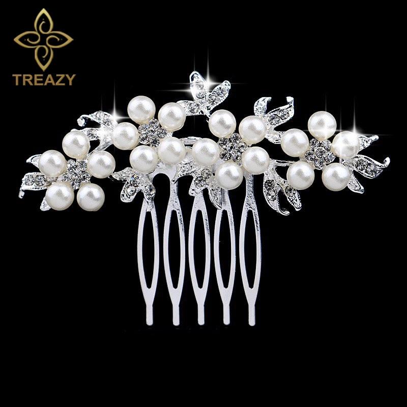 TREAZY Fashion Pearl Crystal Wedding Hair Jewelry Charm Floral Bridal Hair Combs Women Party Hairpins Wedding Hair Accessories