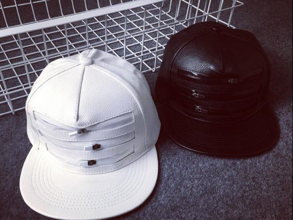 2015 Hot Solid Black Color Faux Leather Men Caps Three Zippers White Hats Snapback For Women Summer Hiphop Street  Baseball Caps