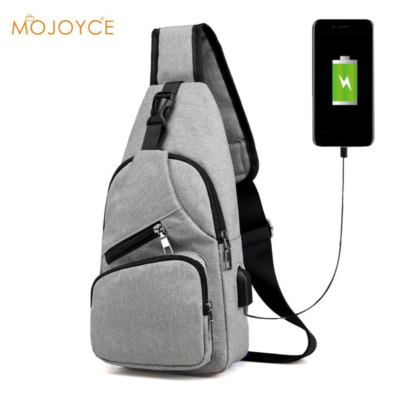 Male Leisure Sling Chest Pack Crossbody Bags For Men Messenger Canvas USB Charging Leather Bags Handbag Shoulder Bags 2018