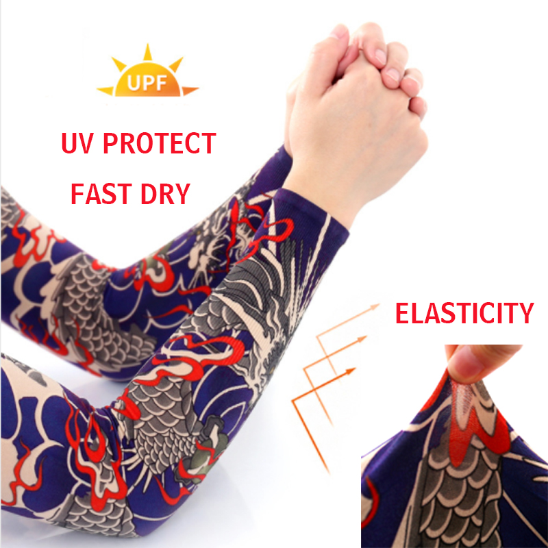 Seamless Tattoo Sleeve Summer Outdoor Printing Sun Protection Sleeve Elastic Women Men Fake Tattoo Arm Warmer Cooling Sleeves in Men 39 s Arm Warmers from Apparel Accessories