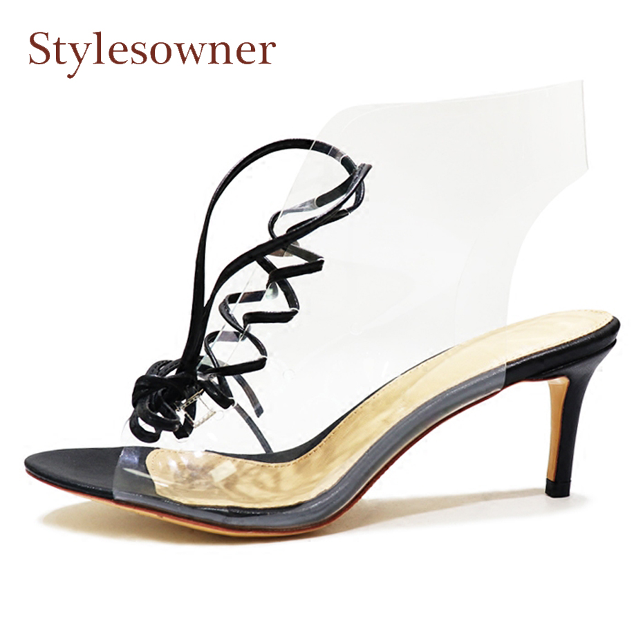 Stylesowner transparent pvc summer boots sandals front cross tied hollow high heel shoes peep toe sexy lady pumps stiletto heels hihopgirls 2018 new spring women pumps peep toe high heels shoes square heel ankle cross stap sexy transparent pvc boots woman