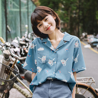 2019 Summer Cute Blouses Women Japanese Casual Turn Collared Kawaii Cat Printed Girls Tops Vintage Button Up Short Sleeve Shirts