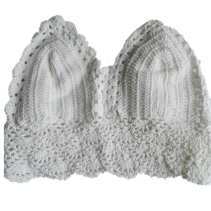 Summer Boho Tops Bralette Cotton Crochet Crop Top Halter Wave Trim Cropped Bralet Women Camisole Crochet Cover-ups Beachwear