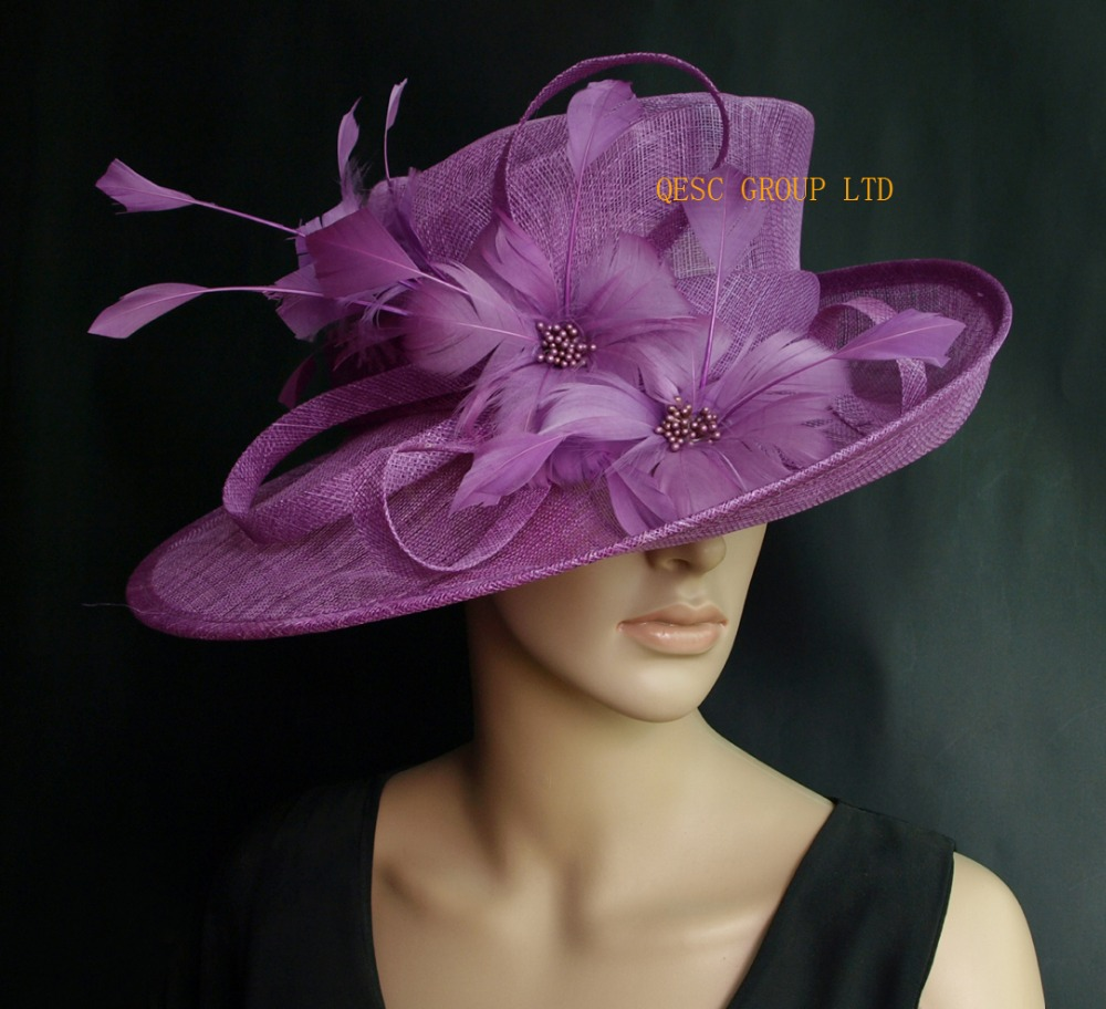 Crocus purple Sinamay Hat formal dress hat with feathers flower for  kentucky derby.wedding church. 742b8629d0
