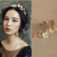 2016 New Wedding Gold Leaf Tiara Bridal Pearl Headband Handmade Hair Accessories Women Headpiece Free Shipping