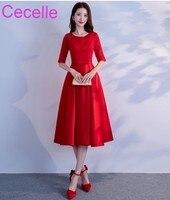 Red Short Modest Bridesmaid Dresses With Half Sleeves Vintage Tea Length Lace Satin Skirt Floor Length Custom Made Party Dress