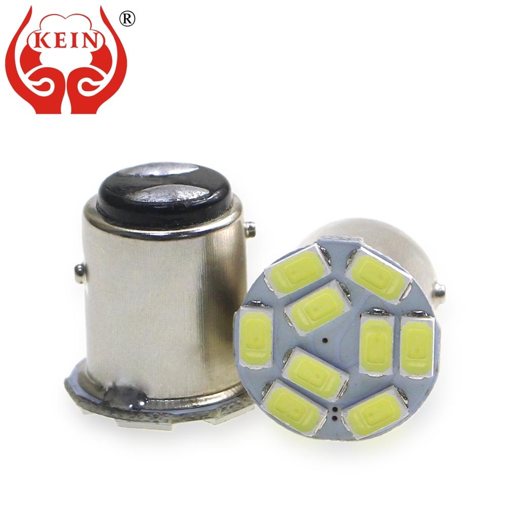 KEIN 10PCS bay15d 1157 led p21/5w car bulbs 9smd 5630 led auto brake stop parking 1157 light lamps vehicle motorcycle white 12V