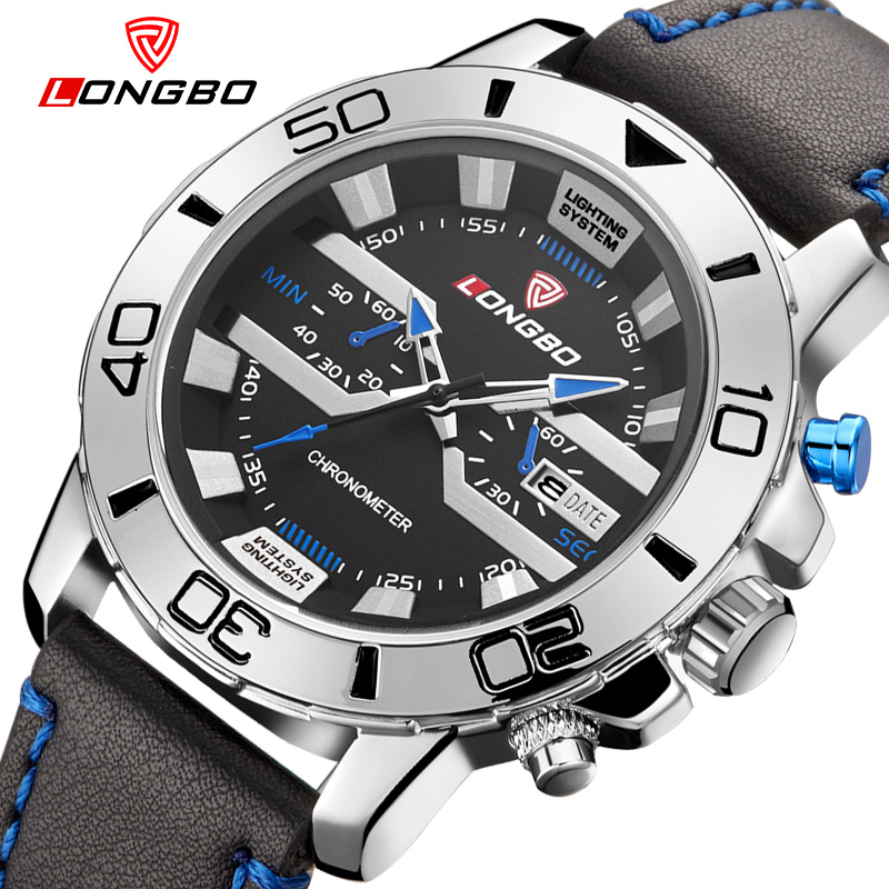 LONGBO Brand Waterproof Sports Watch Fashion Men Geniune Leather Quartz Watch Military Auto Date Wristwatch Relogio