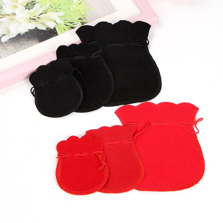 10pcs/lot 5x7/7x9/9x12cm Velvet Bag Drawstring Pouch Black Red Calabash Jewelry Packing Bags Wedding Christmas Gift Bag