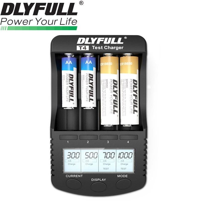 DLYFULL T4 Caricabatterie Intelligente della batteria agli ioni di litio 18650 26650 14500 16340 cr123a 18350 18500 10440 NiMH AA AAA intelligente della batteria caricatore