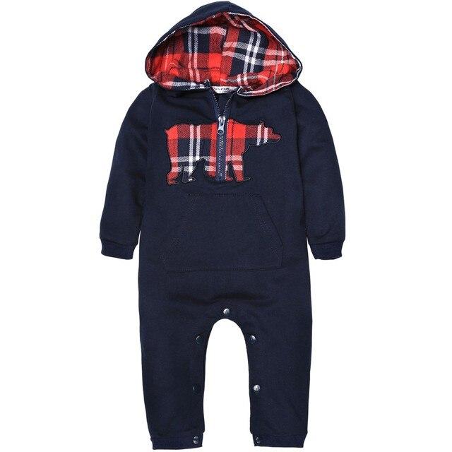 2016 Продвижение Специальное Предложение Мода Хлопок Регулярное Полный Мальчики Дети Baby Boy Малышей С Капюшоном Рукава Zip-up Pattern Комбинезон