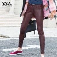 Женские сексуальные узкие брюки карандаш на молнии, женские роскошные кожаные леггинсы из овечьей кожи, эластичные длинные брюки из натура