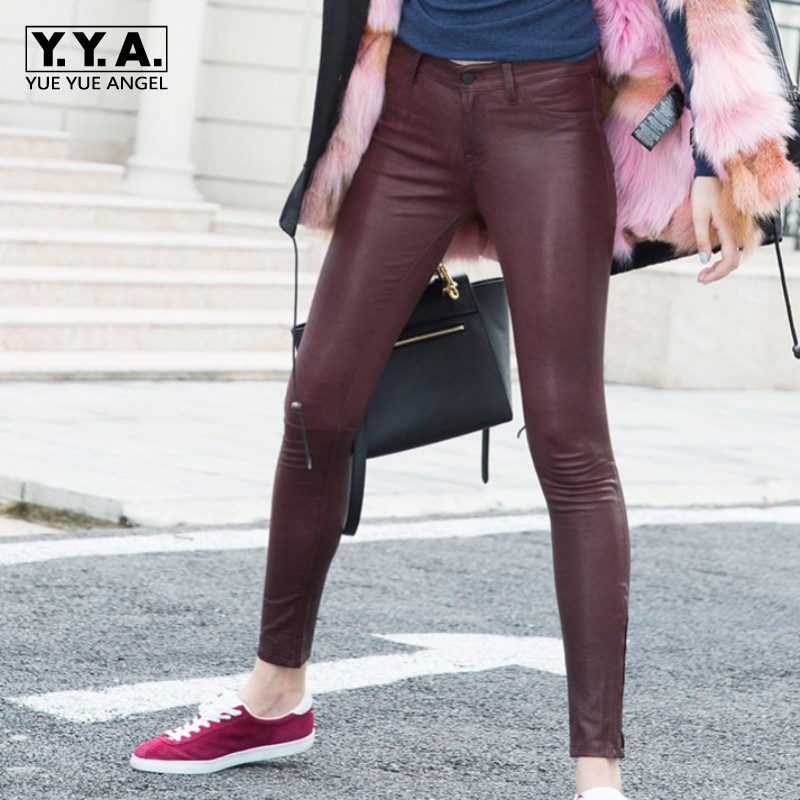 Womens Sexy Skinny Pencil Pants Zipper Office Ladies Luxury Sheepskin Natural Leather Leggings Stretchy Real Leather Long Pants
