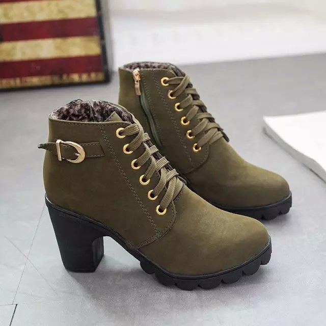019db17e34d5c Moda 2016 Mujeres Del Invierno Martin Botas de Las Mujeres verdes del  Ejército Botines damas botas de tacones altos zapatos de plataforma  casuales zapatos ...