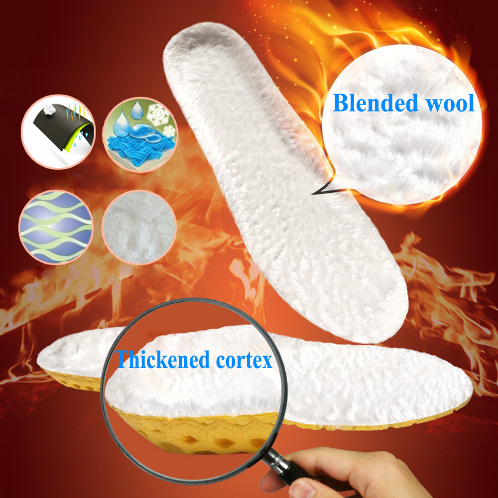 цена на KOTLIKOFF Warm Heated Insoles Soles For Shoes Winter Thick Pad Warm Insoles Imitation Wool Breathable Snow Boots Fur Insoles Pad