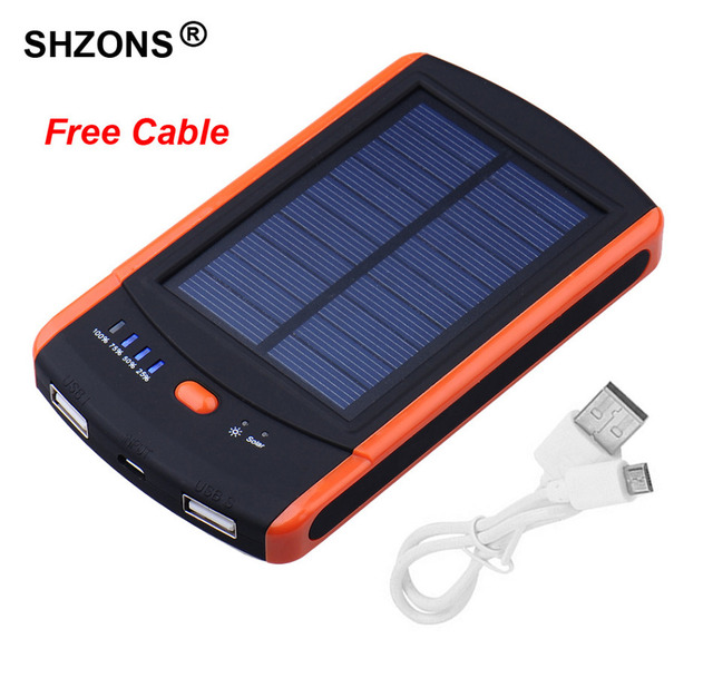 6000mAh Power Bank Solar Charger External Waterproof Battery Chargers Dual USB Powerbank for iPhone 5s 6 6s 7 plus  A27