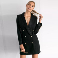 ECOON Elegant OL Double Breasted Long Suit Blazer Femme Autumn Slim Black Ladies Blazer Women Coat