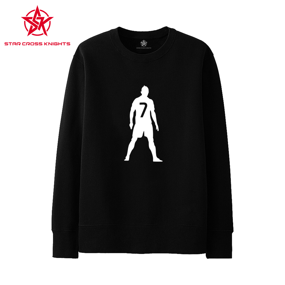 Silhouettes Black White Hoodies Men Long Sleeve Jersey Autumn New  football Sweatshirts NO 7 Sportswear