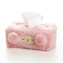 Cute Plush Tissue Box Home Decor Cover Car Tissue Holder Roll Paper Desktop Paper Storage Napkin Dispenser Pocket Tissue 6ZJ060 flower print tissue cover