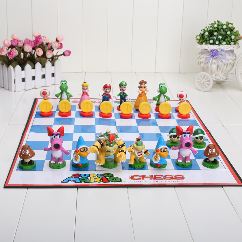 32pcs/set Super Mario Bros Chess PVC Action Figures Toys model for gift super mario bros action pvc figure toys 2 options 9pcs set 12cm height for xmas gift