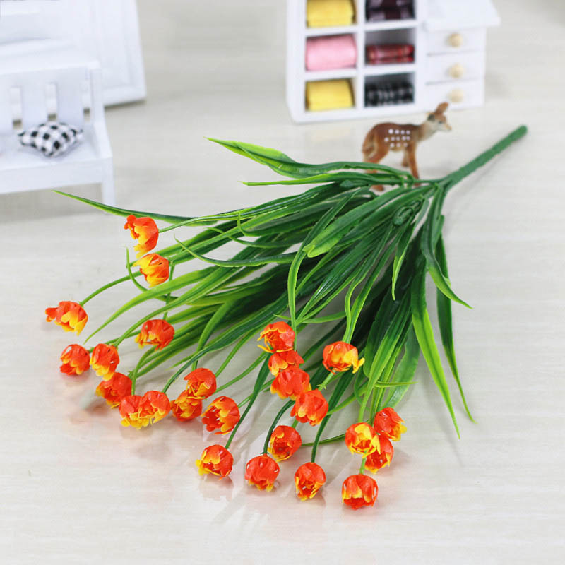 Flone Artificial Plastic Fake Flowers 35cm Small Flower Bouquet Tulip Home Living room Warm Decoration Garden Artificial Flowers (35)