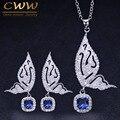 CWWZircons/модные брендовые серьги и ожерелье в форме бабочки из стерлингового серебра 925 пробы с синими кристаллами  T158