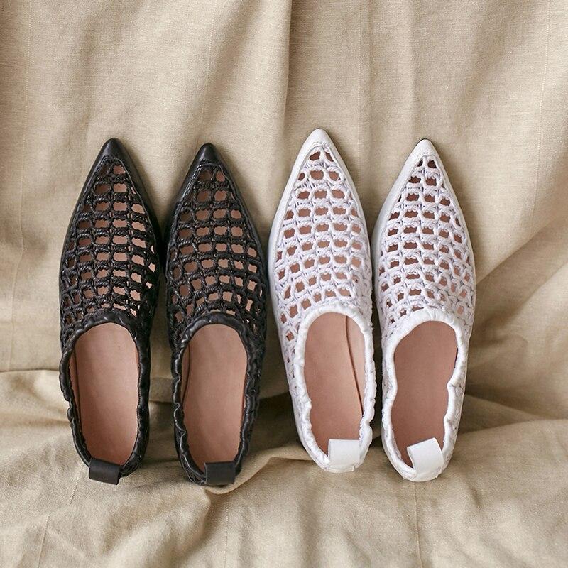 Moda Zapatos Puntiagudos Mujer Negro Venta blanco Genuino Nueva Tamaño Caliente 43 Vaca Cerdo Piel Lapolaka Planos Plus Marca Cuero De a6FOdFq