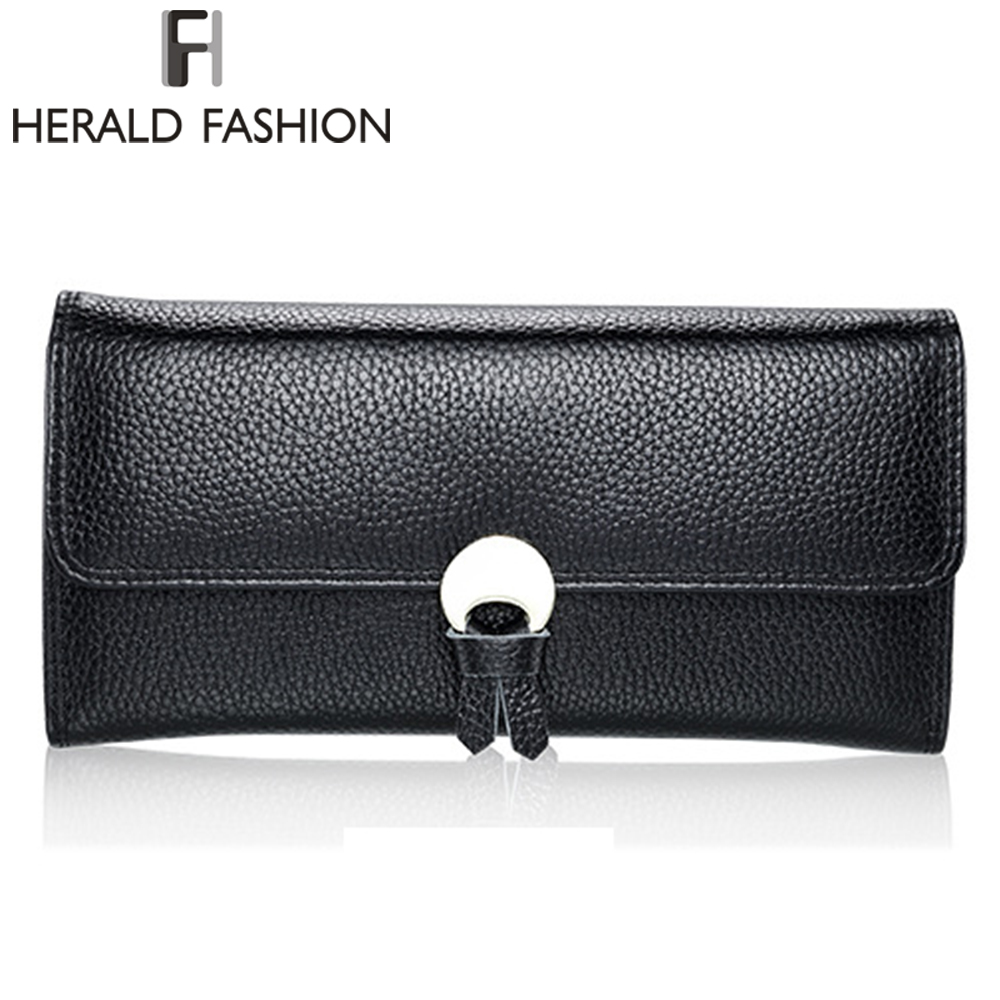 Herald Fashion New Women Wallets Genuine Leather High Quality Long Design Clutch Cowhide Wallet Vintage  Female Purse vintage genuine leather wallets men fashion cowhide wallet 2017 high quality coin purse long zipper clutch large capacity bag
