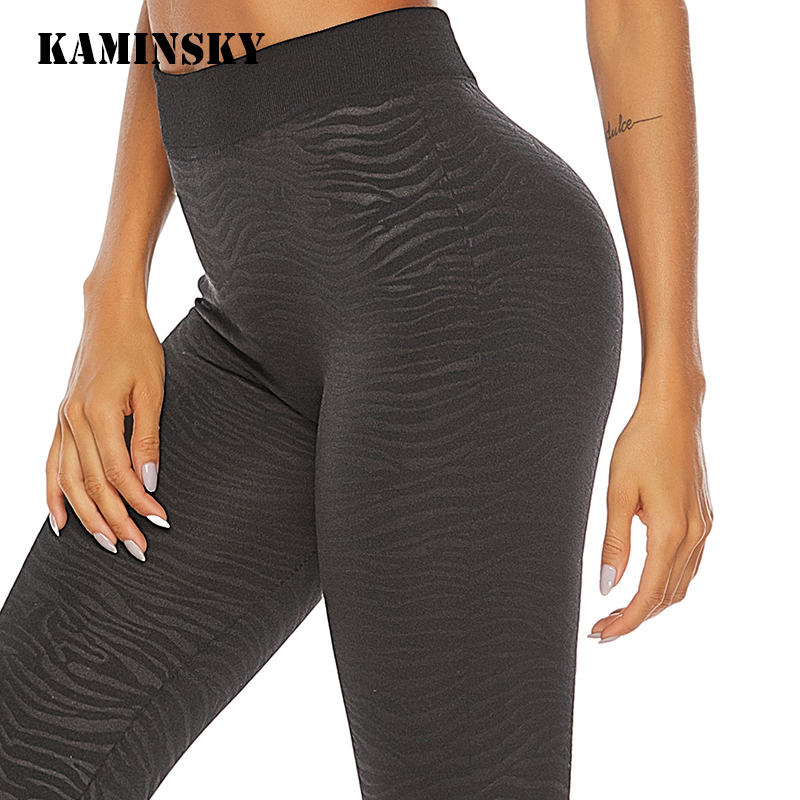 Kaminsky Hip Plus Size   Leggings   Fashion Athleisure Breathable Pant Stripe Printing   Leggings   Push Up Elastic Workout Black Pants