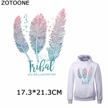 ZOTOONE Feathers Patches Simple Style Iron on Transfer Patch for Clothes Washable Accessory Clothing Diy Decorations Applique