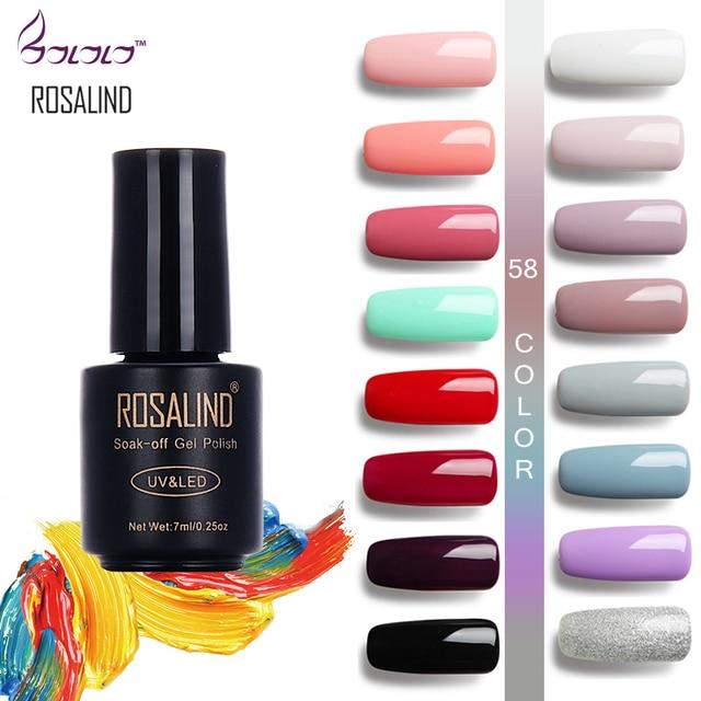 ROSALIND 7ML HOT SALE 58COLORS Full Set Gel Nail Polish Nail Art ...