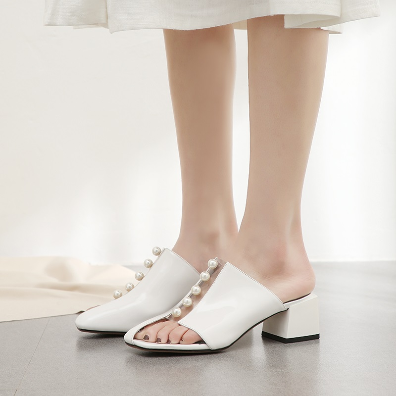Bout Carré Pour Dames À De Femme Chaussures Rivet Babouches Été Black 2019 Zvq white En Date Verni Mode Cuir L'extérieur Talon Med w68q5H5z