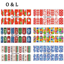 Hot Christmas Theme Water Transfer Nail Stickers Decals 5pcs Charm DIY Nail Beauty Decoration Tools