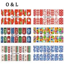 Hot Christmas Theme Water Transfer font b Nail b font Stickers Decals 5pcs Charm DIY font