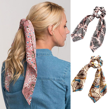 item image - 2019 Sweet Women Ribbon Scrunchie Satin Bowknot Rubber Elastic Hair Band Rope Ponytail Holder Gum For Girls Hair Accessories