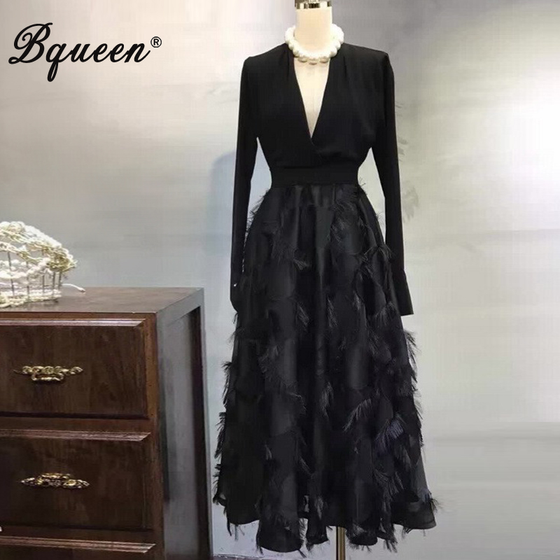 Bqueen 2017 New Arrival Sexy Deep V Tassel Full Sleeve Autumn Women Bandage Dress Elegant A Line Midi Lady Party Dress Vestidos женское платье brand new 2015 v midi vestidos dress