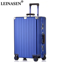 100% aluminium Alloy pull rod suitcase 20 24 28 inch metal luggage spinner travel suitcase hand luggage trolley with wheel