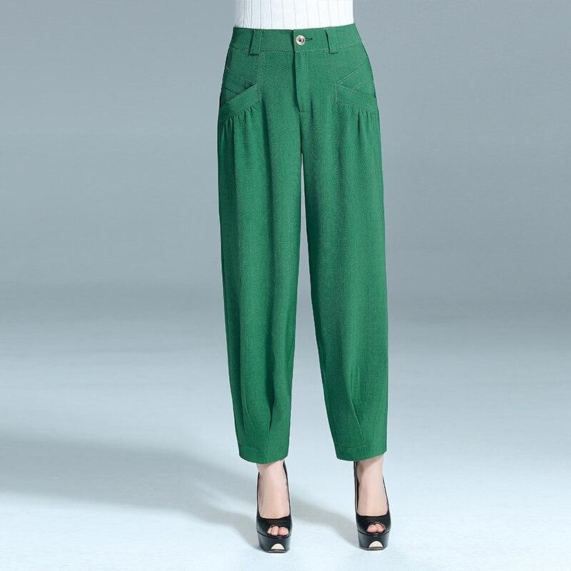Mom Lantern   Pants   Women Loose Elastic Waist   Wide     Leg     Pants   Chiffon Casual trousers Summer Thin Turnip   Pants   Large Size Trousers
