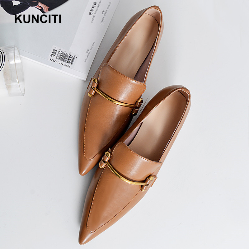 2019 KUNCITI Plus Size Genuine Leather Pointed Toe Metal High Heels Women Pumps Slip On Runway Elegant Office Lady Shoes G173